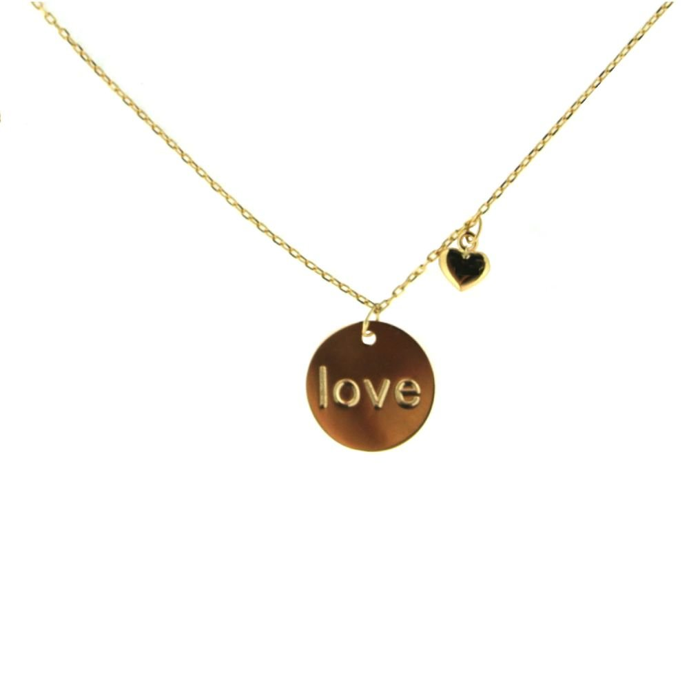 18k Yellow Gold Love Circle and Heart Necklace 16 inches
