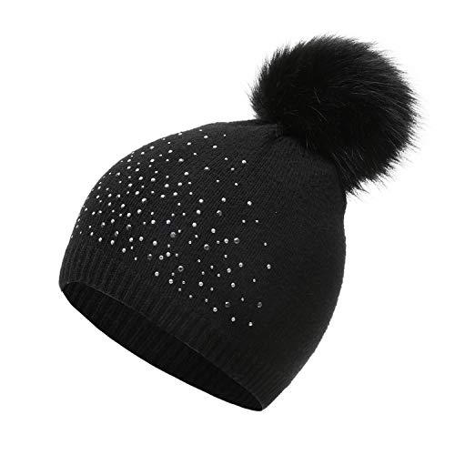 PULI Womens Winter Knitted Beanie Skullie Hat Faux Fur Pompoms Rhinestone Decoration Black