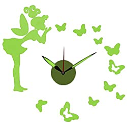 Green Glow-in-the-Dark DIY Battery Powered Fairy-Themed Adhesive Wall Clock - 23 x 23