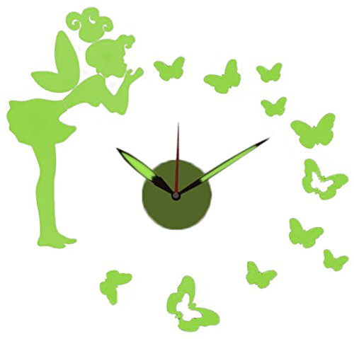 Green Glow-in-the-Dark DIY Battery Powered Fairy-Themed Adhesive Wall Clock - 23