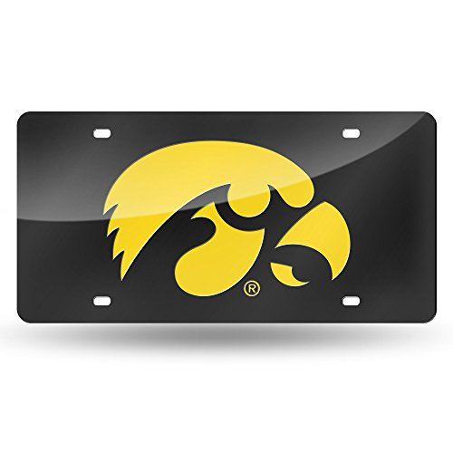 NCAA Iowa Hawkeyes Laser Inlaid Metal License Plate Tag