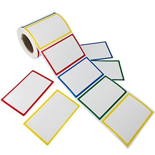 (SUNHE 300pcs Plain Name Tag Labels Colorful Border Name Tag Stickers, 3.5