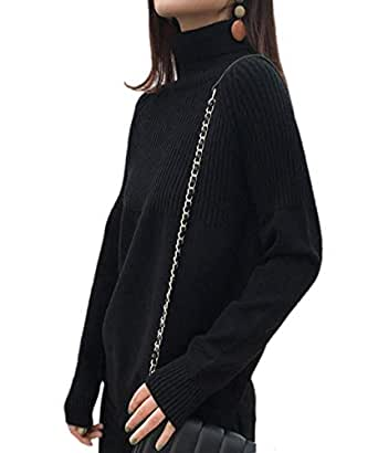 Ailaile Cashmere Sweaters Women Loose Jumpers Wool Knit Split Thick Turtleneck Pullover Winter (M/US Size 8-10, Black)