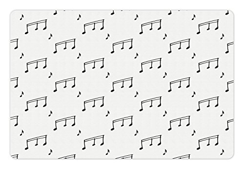 Ambesonne Music Pet Mat for Food and Water, Musical Notes Theme Melody Sonata Singing Song Clef Tunes Hand Drawn Style Pattern, Rectangle Non-Slip Rubber Mat for Dogs and Cats, Charcoal Grey Grey Sonata Sonata