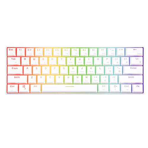 HLL Mini Mechanical Keyboard,Wireless Gaming Portable 60/% Keyboards 61 Keys RGB Single Backlit Blue Brown Switch,White