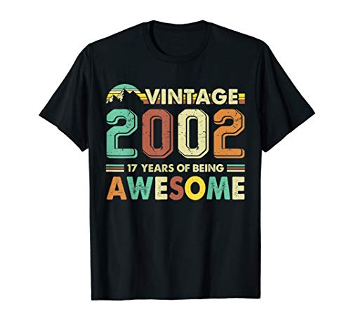 Vintage 2002 T-Shirt 17th Birthday Gifts 17 Years Old