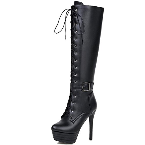 Women Extra Side Boots Knee Black Platform Stiletto with Size COOLCEPT High Zipper S1dOwqnSUC
