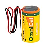OmniCel ER34615HD/W LithiumThionyl Chloride Battery with Wire Leads Replaces Eagle Pitcher PT-2300, Saft LS-33600 LS33600C LSH20, Tadiran TL-2300 TL-4930 TL-5930, Tekcell SB-D01