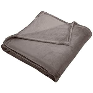 Amazon Brand – Pinzon Velvet Plush Blanket – Full or Queen, Grey
