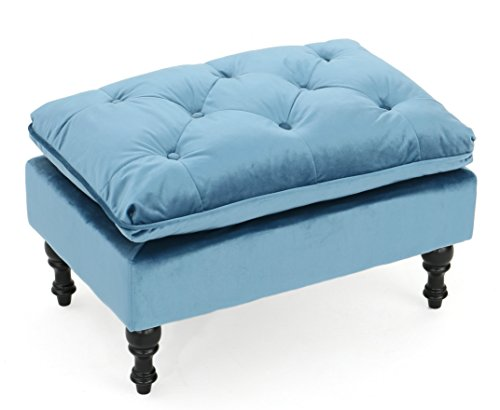 Velvet Ottoman Bench Pouf Footstool Aqua Soft Living Room Elegant Furniture Eco Friendly by Jemsu