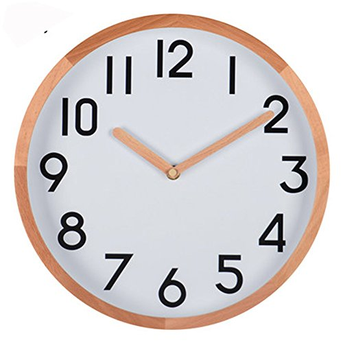 Concise Modern Minimalist Wood Wall Clock 12 Inches Non Ticking Silent Quiet Sweep Second Decorative Wall Clock with Wood Hours Seconds Hands (HW21-US) (Natural wood)