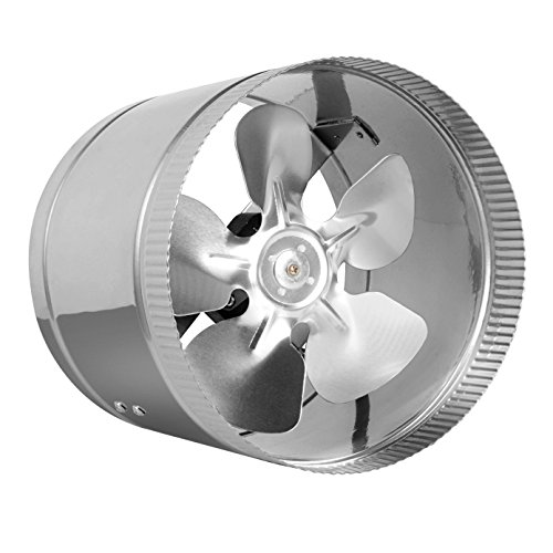 "8"" Inline Fan - 400 CFM, Metal Duct Booster Fan, ETL Listed, Pre-Wired 6 FT Grounded Cord - Great For Grow Tent Exhaust and Intake, Register Booster For 8 Inch Ducts"
