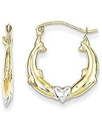 10k Yellow Gold Dolphin Heart Hoop Earrings Ear Hoops Set Animal Sea Life Fine Jewelry Gift Set For Women Heart