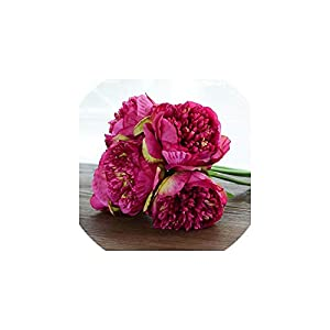V-K-YA 5 Heads Real Touch Fake Silk Peony Flowers for Home Decoration Artificial Peony Flower Bridal Bouquet,G 32