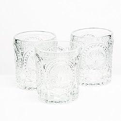 Richland Votive Holder Clear Textured Glass Set of