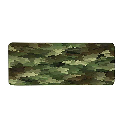 """TecBillion Camo Fashionable Long Door Mat,Frosted Glass Effect Hexagonal Abstract Being Invisible Woodland Army for Home Office,23.6"""" L x 9.4"""" W"""