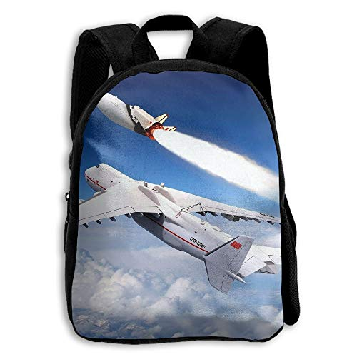 Stylish Children's School Backpacks Aircraft Rocket Clouds Adjustable Shoulder Straps Elementary Daypack For School/Hiking/Shopping/Climbing/Yoga/Beach -