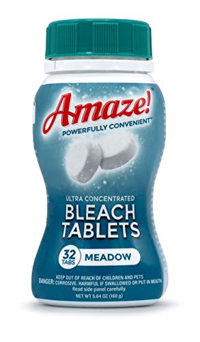AMAZE Bleach Tablets Ultra Concentrated Bleach Tablets for Laundry and Home Cleaning. (32 Count Meadow) (Bleach Pods)