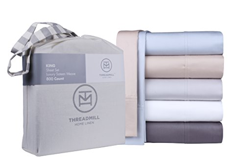800 Thread Count 100% Extra-Long Staple Cotton Sheet Set, California King Sheets, Luxury Bedding, California King 4 Piece Set , Smooth Sateen Weave,Beige, by Threadmill Home Linen