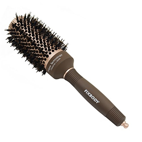FIXBODY Round Barrel Anti-Static Hair Brush with Boar Bristles, Nano Thermal Ceramic Coating & Ionic Tech for Hair Drying, Styling, Curling, Straightening, Hair Volume and Shine (3
