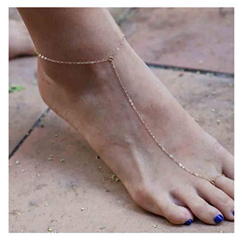 Olbye Gold Ring Toe Anklet Chain Barefoot Sandal Foot Bracelet Handmade Anklet Beach Jewelry for Women and Teen Girls