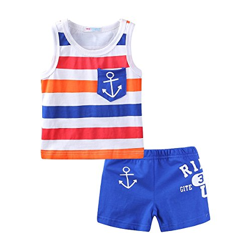 - Mud Kingdom Cute Toddler Boy Outfits 3T Blue Sailor Stripe