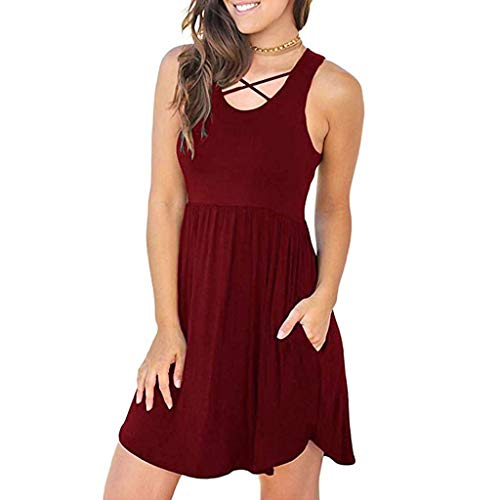 (Usstore Women Casual Dress Sleeveless Summer Essential Simple Tank Cross Straps Splice Pleated Pockets Beach Mini Dress (XXL, Wine))