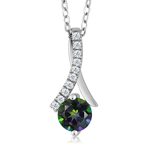 Pendant Mystic Gemstone Topaz (1.15 Ct Round Green Mystic Topaz 925 Sterling Silver Pendant)