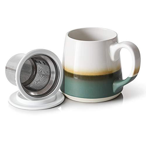 Dowan Ceramic Tea Mugs 16 OZ Tea Cups with Infuser and Lid - Green