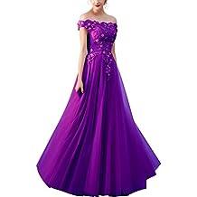 HTDX A-Line Off Shoulder Formal Dresses For Evening Applique Tulle Modest Long Prom Dress Ball Gowns Bridesmaid Dress HTDX042