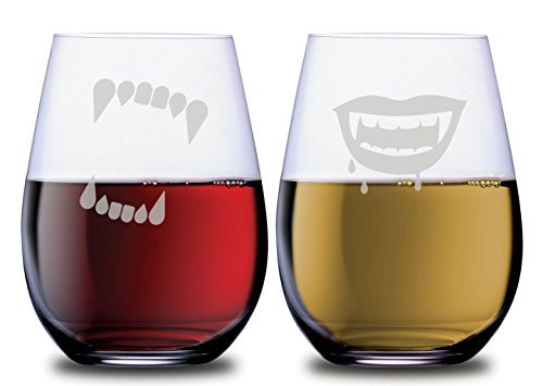 Supernatural Teeth Stemless Couples Wine Glasses Set of 2 CLEARANCE with Vampire and Werewolf Teeth Spooky Monster Theme Dishwasher Safe, 18oz, by Smoochies | Couples Anniversary Gift -