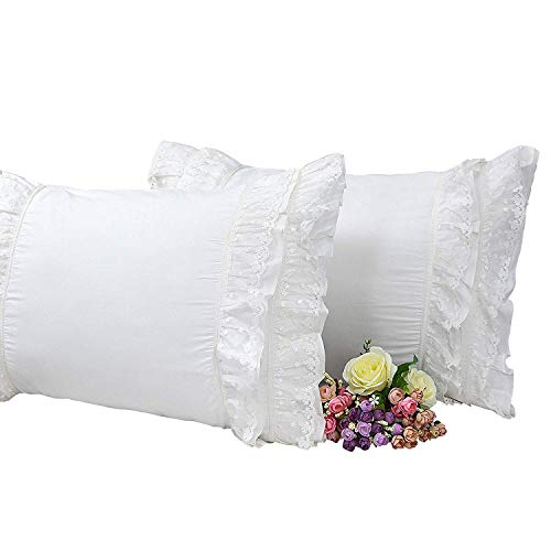 - Brandream Romantic White Pillow Case Ruffle Pillow Shams 100% Cotton Pillowcases Set of 2
