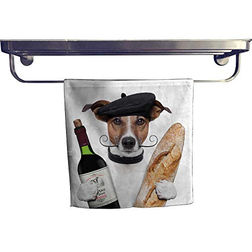(Leigh home Absorbent Towel,French Dog Wine Baguette Beret ,spa, Gym etc, Strength, high Absorbency and Fast Drying W 20