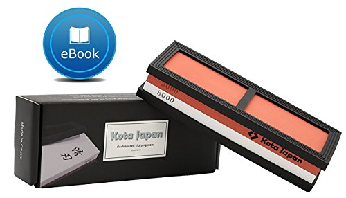 Kota Japan # 3000-8000 Grit Premium Whetstone. Knife Sharpening Stone VALUE BUNDLE Kit. ENJOYABLE, Smooth, EFFORTLESS. NO-SLIP Base, Utmost SAFETY, Superior QUALITY,, Perfect GIFT!! (Whetstone Sharpening Kit)