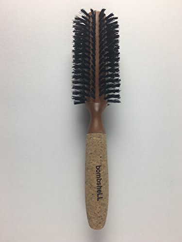 bombshell blowout Hair Brush Classic Round Sustainable Wood, Cork Handle, Boar Bristle (Medium 2 inch) 3.1 ounce