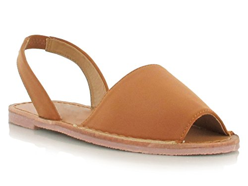 Nubuck Faux Suede Double Strap Peep Toe Sandals for Summer Days and Evenings Super Comfy Flats Womens Footwear Holiday Shoes Tan NuBuck CtPvjF