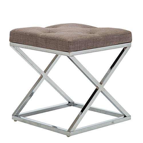 (Andeworld Metal Bench Tufted Upholstered Entryway Footstool Seat (Stool-D))