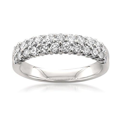 (14k White Gold Round Diamond Double Row Bridal Wedding Band Ring (1 cttw, I-J, I1-I2), Size)
