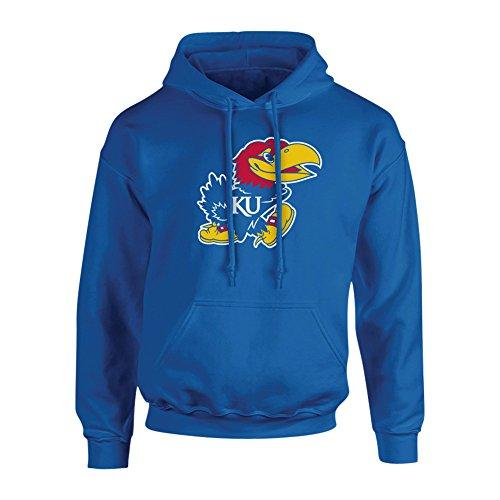 Elite Fan Shop Kansas Jayhawks Hooded Sweatshirt Icon Blue - L