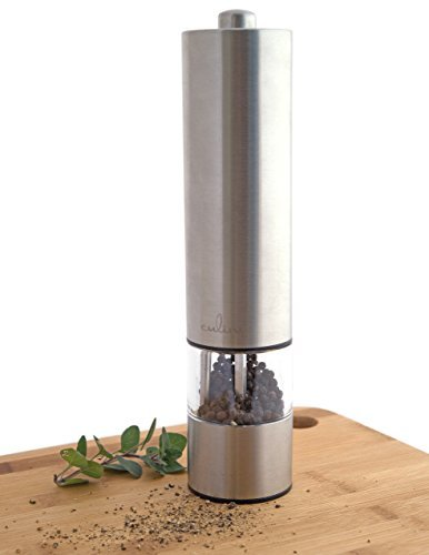 (Culina Quality Stainless Steel Electric Powered Fine Grind Salt/Pepper Mill with LED)