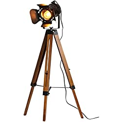 Tripod Floor Lamp Decorative Lamps Industrial Searchlight Table Lights Desk Spotlight,Vintage Metal Wood Studio Industrial Antique Rustic Camera Retro Modern Theatre Cinema Home Art Deco Props