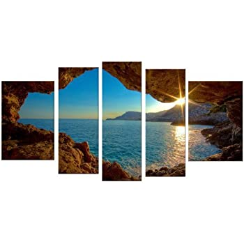 this item startonight canvas wall art window sunset water usa design for home decor dual view surprise wall art set of 5 total x inch 100