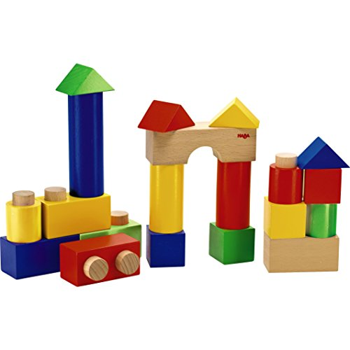 HABA Stack & Play - Colorful 18 Piece Wooden Fit Together Blocks with Pegs & Holes for Ages 1 and Up