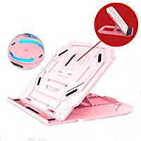 1A2B3C Folding Laptop Table, Adjustable Laptop Stand, 10 Adjustable Angles Rotatable Portable Desk Stand for Laptop, Bed Tray Cooling Computer Pad Stand (Pink)