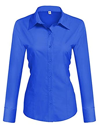 HOTOUCH Womens Basic Long Sleeve Cotton Simple Button Down Shirt ...
