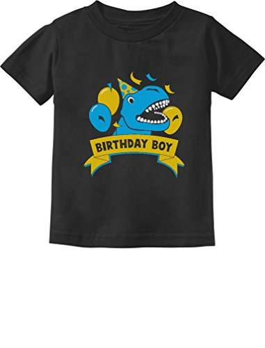 Gift for Birthday Boy Dinosaur Raptor T-Rex Boy Toddler/Infant Kids T-Shirt 4T Black