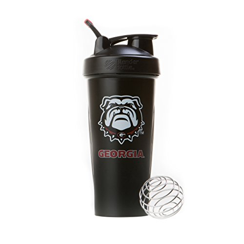 BlenderBottle Collegiate Classic 28-Ounce Shaker Bottle, University of Georgia Bulldogs - Black/Black