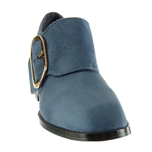 Angkorly Boots cm Low Fashion Block Boots Ankle Booty Heel 5 Shoes Thong High Blue Women's Buckle 0Yxrw6qU0H