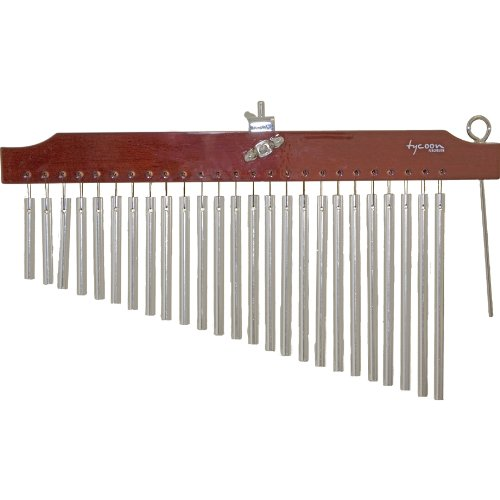 Tycoon Percussion 25 Chrome Chimes With Brown Finish Wood Bar by Tycoon Percussion