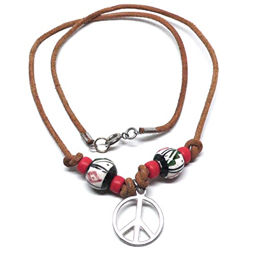 Pewter Peace Sign Leather Necklace Peruvian Ceramic Red Black White Beige 19 Inches
